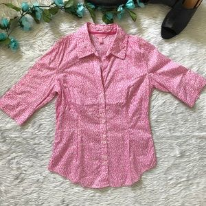 Lilly Pulitzer Button Dawn Pink Floral Print Shirt